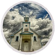 The Squaw Bay Church Round Beach Towel by Jakub Sisak