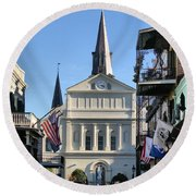 The St. Louis Cathedral Round Beach Towel