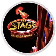 The Stage On Broadway In Nashville Round Beach Towel by Dan Sproul