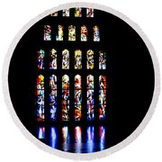 The Stained Glass Windows Of Mary's Church In Nazareth Round Beach Towel