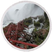 The Stairs To The Cave Of The Winds - Niagara Falls Round Beach Towel