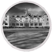 The Stanley Hotel Bw Round Beach Towel