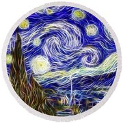 The Starry Night Reimagined Round Beach Towel