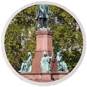The Statue Of Istvan Szechenyi In Budapest Round Beach Towel
