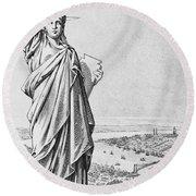 The Statue Of Liberty New York Round Beach Towel