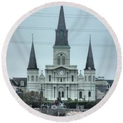 The St.louis Cathedral Round Beach Towel