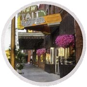 The Store Fronts Round Beach Towel