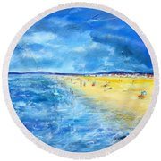 The Storm Arrives At The Beach Round Beach Towel