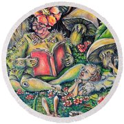 The Story Lady Round Beach Towel