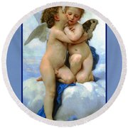 The Story Of Cupid And Psyche Round Beach Towel