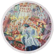 The Street Enters The House Round Beach Towel by Umberto Boccioni