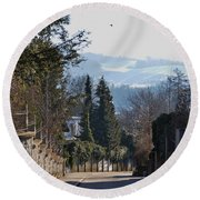 The Street In Upper Town 2 Round Beach Towel