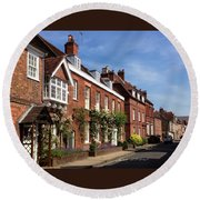 The Streets Of Winchester England Round Beach Towel
