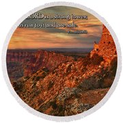 The Strong Tower Round Beach Towel