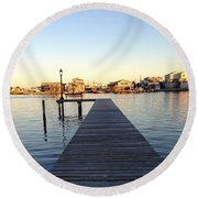 The Sun Begins To Set On Long Beach Island Round Beach Towel