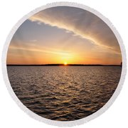 The Sun Coming Up On The Chesapeake Round Beach Towel