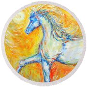 The Sun Horse Round Beach Towel
