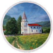 The Sunny Road Landscape With Field And Church Round Beach Towel