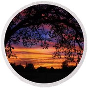 The Sun Sets For Mike Round Beach Towel