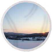 The Sun Shining At Midwinter Round Beach Towel