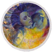 The Sun The Moon And The Truth Round Beach Towel