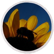 The Sunflower And The Bee Round Beach Towel