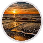 The Sunset Round Beach Towel by Adrian Evans