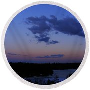 The Sunset Moon In Winter Round Beach Towel