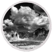 The Superstitions - Black And White  Round Beach Towel