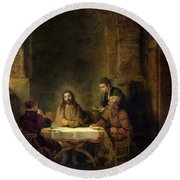 The Supper At Emmaus, 1648 Oil On Panel Round Beach Towel