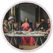 The Supper At Emmaus Round Beach Towel by Vittore Carpaccio