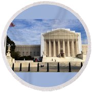 The Supreme Court Facade  Round Beach Towel