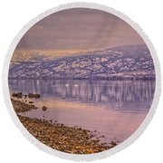 The Swans On Winter Solstice Round Beach Towel