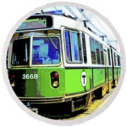 The T Trolley Car Boston Massachusetts 1990 Poster Round Beach Towel