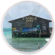 The Tackle Box Sign Round Beach Towel