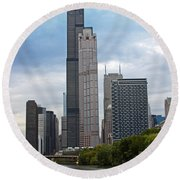 The Tall Buildings Round Beach Towel