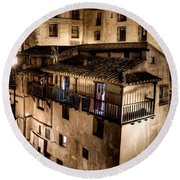 The Tall Houses Of Albarracin Round Beach Towel