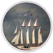 The Tall Ship Windy Round Beach Towel