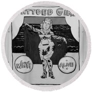 The Tattoed Girl In Black And White Round Beach Towel