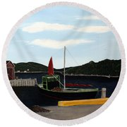 The Tekakwitha - Black Schooner Round Beach Towel