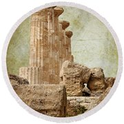The Temple Of Heracles Round Beach Towel