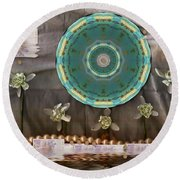 The Temple Of Mammon Round Beach Towel