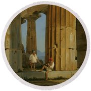 The Temple Of Poseidon. Paestum Round Beach Towel