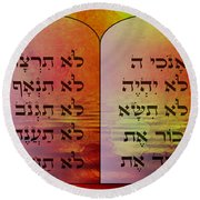 The Ten Commandments - Featured In Comfortable Art Group Round Beach Towel