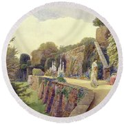 The Terrace At Berkeley Castle Round Beach Towel