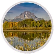 The Tetons And Fall Colors Round Beach Towel
