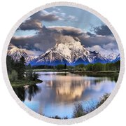 The Tetons From Oxbow Bend Round Beach Towel