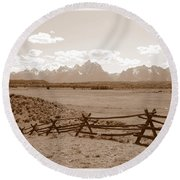 The Tetons In Sepia Round Beach Towel