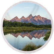 The Tetons Reflected On Schwabachers Landing - Grand Teton National Park Wyoming Round Beach Towel