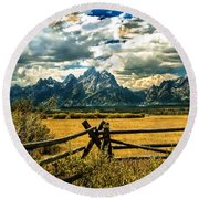 The Tetons Round Beach Towel